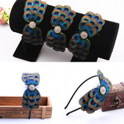 RUNHENG Handmade Feather Peacock Hair clip, Natural Feather Fascinator Barrette