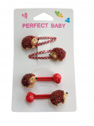 4Pcs Lovely Hedgehog Pattern Hair Clip Hair Rope Set Baby Kids Girls Animal Hair Clip Best for Christmas Gift