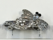 2 Pieces Dragonfly Clear Rhinestone With Silver Colour Metal Clips