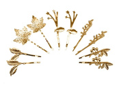 yueton 10pcs Mix Style Athena Olive Branch Leaf Hair Clip Maple Leaves Barrettes Bobby Pin Bride Headwear Edge Clip Clamps