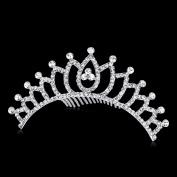Babeyond Rhinetone Princess Pageant Wedding Tiara Headband for Women Crystal Tiara Headband Bridal Hair Accessories Silver