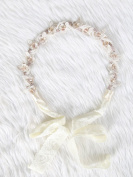 Sweet flower lace headband with crystal and pearl