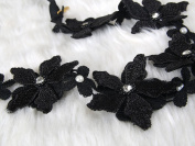 Stunning black lace flower headband with crystal and Rhinestone