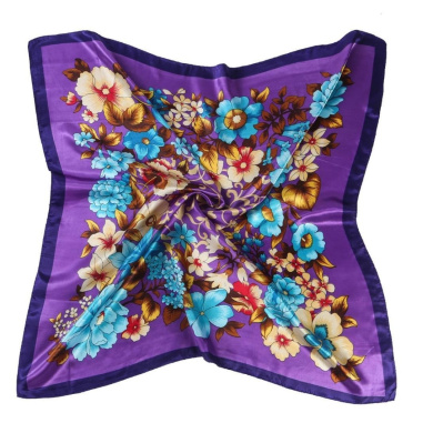 Datework Women Floral Printed Square Scarf Head Wrap (Purple)