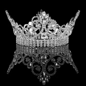 FUMUD Large Weddding Bridal Tiara Crown Clear Rhinestone Beauty Pageant Party Headband Xmas Gifts