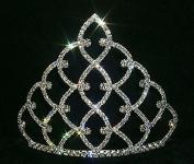 13cm Traditional Rhinestone Crown - Silver #11186S