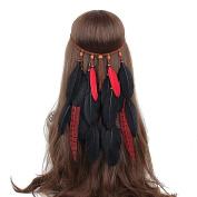 AWAYTRNew Fashion Women Bohemia Braided Feather Headband Indian Hippie Hair Accessories