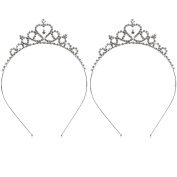 Buytra 2 Pack Wedding Party Bridal Bridesmaid Flower Crystal Heart Shape Princess Crown Headband Tiara for Girls Children, Silver