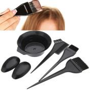 AKOAK 5 Pcs/Set Black Hair Dye Set Kit Hairdressing Brushes Bowl Combo Salon Hair Colour Dye Tint DIY Tool Set Kit