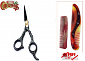 Black J2 Japanese Steel New Professional Razor Edge Titanium Hairdressing Barber Salon Scissor/Shear 14cm + FREE Comb Set