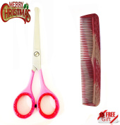 Stainless Steel Beauty Ear & Nose Hair SAFTEY Scissor Shear + Moustache & Beard Scissor Shear 11cm With Free Comb