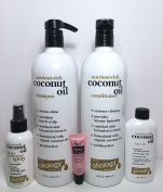 Oliology Coconut Oil Shampoo 32 oz, Conditioner 32 oz, Hair Oil 4 oz & 10 in1 Multi Purpose LEAVE IN Spray 4oz- Paraben Free -Free Starry Sexy Kiss Lip Plumping 10 Ml""