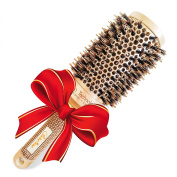 Boar Bristle Round Hair Brush (4.3cm ) for Blow-Dry - Professional Salon Quality Hair Styling Tool for Silky, Shiny, Smooth & Bouncy Blowouts