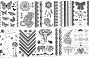 CLOTHOBEAUTY Henna & Lace temporary body tattoos, 10 sheets- Black, 80+ designs