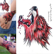 Bleeding Wolf Head Temporary Tattoo Sticker for Men Women 3d Body Art Fake Tatoo