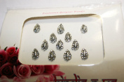 BridalBindis TEAR DROP 12 SILVER Premium Pack face Bindi Jewels reusable body jewel stick on Fancy Tattoo. - BB4
