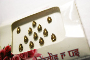 TEAR DROP BridalBindis 12 GOLD Premium Pack face Bindi Jewels reusable body jewel stick on Fancy Tattoo. - BB4