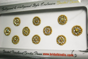 BridalBindis 10 GOLD Premium Pack round face Bindi Jewels reusable body jewel stick on Fancy Tattoo. - BB3