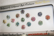 BridalBindis 15 Premium Pack round face Bindi Jewels reusable body jewel stick on Fancy Tattoo. - BB2