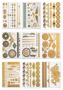 CLOTHOBEAUTY Metallic Temporary Body Tattoos - 9 sheets, 100+ designs