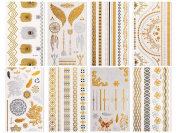 CLOTHOBEAUTY Metallic Temporary Tattoos - 8 sheets (Gold & Silver), 80+ designs
