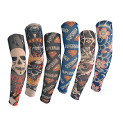Efivs Arts D-Series New Arrival Nylon Tattoo Sleeves Temporary Tattoo Arm Cover up Sleeves 6 Pcs, Realistic and Comfortable