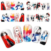 Wehous 4 Sheets Cartoon Water Slide Nail Art Decals Water Transfer Nail Decals Sticker