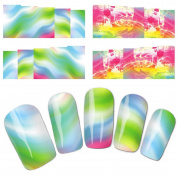 Wehous 4 Sheets Flowery Colourful Water Slide Nail Art Decals Water Transfer Nail Decals Sticker