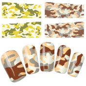 Wehous 4 Sheets Camo Colour Army Green Water Slide Nail Art Decals Water Transfer Nail Decals Sticker