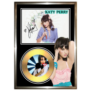 KATY PERRY 1 - SIGNED FRAMED GOLD VINYL CD & PHOTO DISPLAY - -