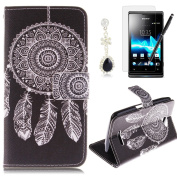 HB-Int 4 in 1 Black PU Leather Flip Case for Sony Xperia E4 Stand Function Cover with Card Slots Dream Catcher Book Style Wallet Magnetic Clousure Shell Folio Bumper Folding Pouch Protector Pocket Full Body Holder Soft Silicone Back Case with Screen Pr ..
