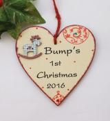 Bumps's 1st Christmas Heart wooden plaque