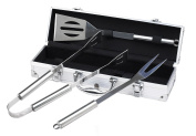 Stainless Steel 3 Pcs BBQ Barbecue Grill Tool Set in Aluminium Case