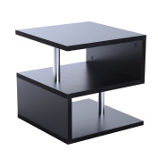 HOMCOM Wooden S Shape Cube Coffee Console Table 2 Tier Storage Shelves Organiser Office Bookcase Living Room End Desk Stand Display