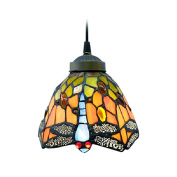 BAYCHEER 16cm Vintage Dragonfly Stained Glass Tiffany Ceiling Lamp Pendant Lamp Living Room Light Hallway Lamp