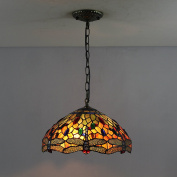 30cm Vintage Dragonfly Stained Glass Tiffany Ceiling Lamp Pendant Lamp Living Room Light Hallway Lamp