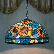30cm Vintage Pastoral Rustic Stained Glass Tiffany Sunflower Ceiling Lamp Pendant Lamp Living Room Light Hallway Lamp