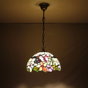 30cm Vintage Pastoral Hummingbird With Flowers Stained Glass Tiffany Ceiling Lamp Pendant Lamp Living Room Light Hallway Lamp