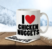 I Love Chicken Nuggets - Mug and Coaster By Inky Penguin