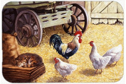 "Caroline's Treasures BDBA0339CMT ""Rooster and Hens Chickens in the Barn"" Kitchen or Bath Mat, 20"" H x 30"" W, Multicolor"