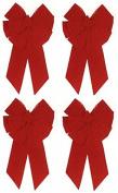 Holiday Trim 7366 11 Loop, Medium, Red Velvet Deluxe Christmas Bow - Quantity 4