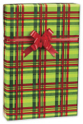 30m Roll Festive Chartreuse/Red Plaid Wrapping Paper 80cm wide - Bulk Size - 23sqm