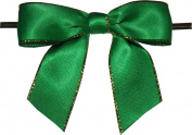 Large Emerald Green with Gold Edge Twist Tie Bows- 100pc