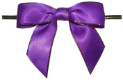 Large Purple with Gold Edge Twist Tie Bows- 100pc