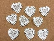 CraftbuddyUS LM9- 10 Ivory Vintage Lace Applique Guipure, Sew On Fabric Heart Crochet Motifs