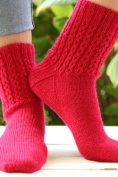 Plymouth Happy Feet 100 yarn Mock Cable Socks Knit Kit - ROSE RED