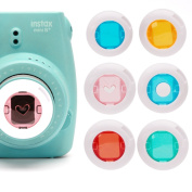Mini 8 Cameras Lenses, Coloured Filter Close-Up Lens for Instax Mini 7S ,Instax Mini 8 Cameras, Poloroid PIC 300, Instax hellokitty camera (Red /Blue Circle /Yellow /Green /Pink Heart) - 6 Pack
