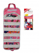 EASYVIEW Arts Crafts and Sewing Organiser (Pink) with Singer Starter Sewing Kit Bundle