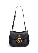 Gucci Women's Black gg Marmont Medium Brass Tiger Leather Shoulder Bag New