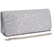 Jubileens Women's Flap Glitter Hard Case Evening Bag Clutch Handbag Purse